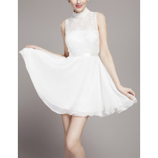 Custom Modern High-Neck Sleeveless Lace Chiffon Short Wedding Dress