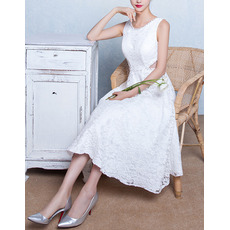 Discount Chic A-Line Sleeveless Tea Length Lace Wedding Dress