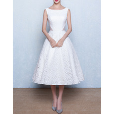 Classic Modern A-Line Bateau Sleeveless Tea Length Lace Wedding Dress
