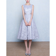 Classic A-Line Bateau Sleeveless Tea Length Lace Blue Wedding Dress
