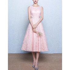 Classic Modern A-Line Bateau Sleeveless Tea Length Lace Pink Wedding Dress
