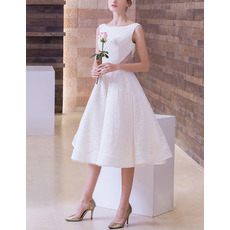 Timeless Elegant A-Line Bateau Sleeveless Tea Length Lace Wedding Dress