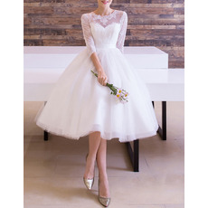Custom Classic A-Line Knee Length Wedding Dress with 3/4 Long Sleeves