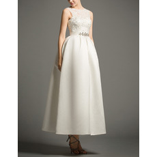 Inexpensive Chic Ball Gown Tea Length Satin Reception Wedding Dress