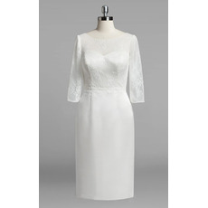 Affordable Chic Column Knee Length Satin Wedding Dress with Lace Sleeves