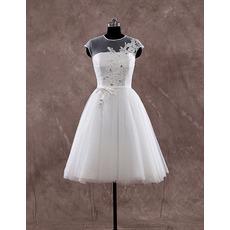Custom Classic A-Line Cap Sleeves Knee Length Organza Wedding Dress