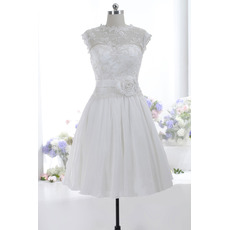 Discount Simple A-Line Sleeveless Knee Length Taffeta Wedding Dress
