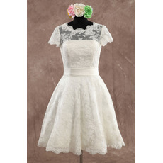 Classic Elegant A-Line Knee Length Lace Wedding Dress with Short Sleeves