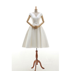 Custom Designer V-Neck Knee Length Satin Reception Wedding Dress with Cap Sleeves