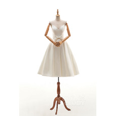 Affordable Timeless Sweetheart Knee Length Satin Wedding Dress with Bows