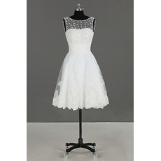 Informal Chic Sleeveless Knee Length Organza Beading Wedding Dress