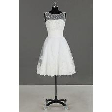 Informal Chic Sleeveless Knee Length Organza Beading Wedding Dress