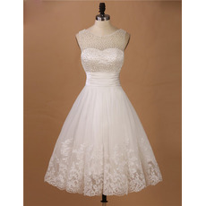 Affordable Charming A-Line Sleeveless Knee Length Organza Beading Wedding Dress