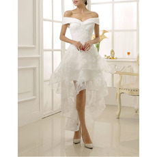 Best Charming Off-the-shoulder High-Low Lace Short Wedding Dress