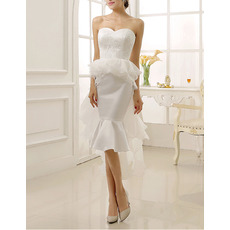 Custom Chic Mermaid Sweetheart Knee Length Satin Organza Wedding Dress