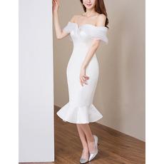 Discount Chic Mermaid Off-the-shoulder Tea Length Satin Wedding Dress