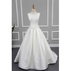 Affordable Modern Ball Gown Sleeveless Chapel Train Satin Wedding Dress