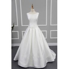 Affordable Modern Ball Gown Sleeveless Chapel Train Satin Wedding Dress