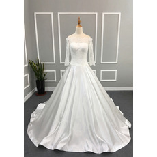 Vintage Classic A-Line Off-the-shoulder Wedding Dress with 3/4 Long Sleeves