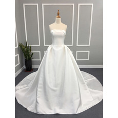 Vintage Ball Gown Strapless Cathedral Train Satin Wedding Dress