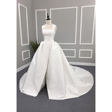 Custom Ball Gown Square Cathedral Train Satin Split Wedding Dress