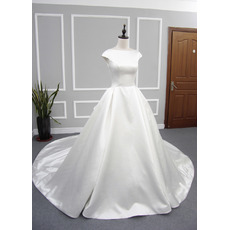 Inexpensive Vintage Ball Gown Cap Sleeves Cathedral Train Satin Wedding Dress