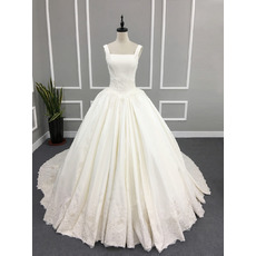 2017 Style Ball Gown Square Neck Chapel Train Satin Wedding Dress