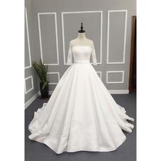 Custom A-Line Chapel Train Wedding Dress with 3/4 Long Sleeves