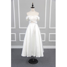 Affordable Chic Off-the-shoulder Tea Length Satin Reception Wedding Dress