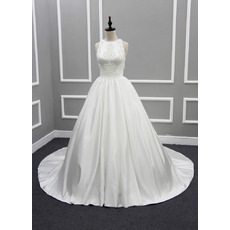 Discount Beautiful Ball Gown Chapel Train Satin Wedding Dress with Tassels