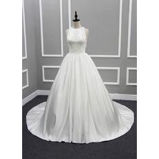 Discount Beautiful Ball Gown Chapel Train Satin Wedding Dress with Tassels