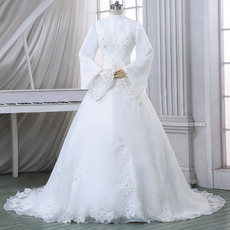 Custom Modern High-Neck Satin Winter Wedding Dress with Long Sleeves