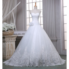 Charming Ball Gown Sweetheart Sweep Train Organza Wedding Dress