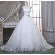 Inexpensive Classic Ball Gown Sleeveless Court Train Lace Wedding Dress