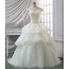 Affordable Gorgeous Ball Gown Off-the-shoulder Court Train Organza Wedding Dress