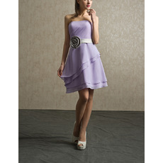 Discount Strapless Short Beach Chiffon Bridesmaid Dress with Belts & Flowers