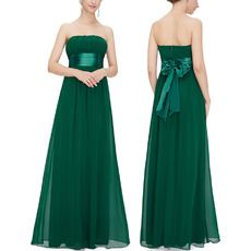 Affordable Strapless Long Beach Chiffon Bridesmaid/ Wedding Party Dress