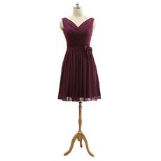 Inexpensive V-Neck Short Beach Chiffon Bridesmaid/ Wedding Party Dress