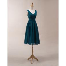 2018 Simple V-Neck Sleeveless Knee Length Chiffon Bridesmaid Dress