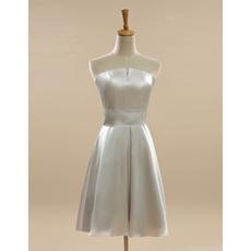 Custom Strapless Short Satin Bridesmaid/ Wedding Party Dress Under 100