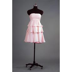 Cheap Strapless Short Chiffon Layered Skirt Bridesmaid Dress