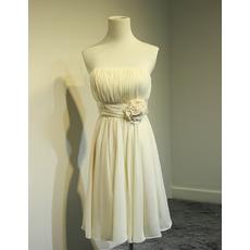 2018 Simple Strapless Knee Length Chiffon Bridesmaid/ Homecoming Dress