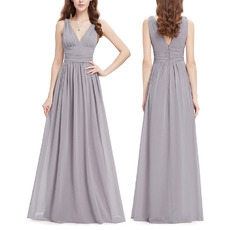 2018 Modest V-Neck Long Chiffon Bridesmaid/ Wedding Party Dress