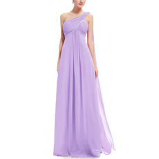 2018 Simple One Shoulder Full Length Chiffon Bridesmaid Dress Under 100