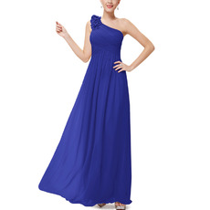 Inexpensive One Shoulder Full Length Chiffon Bridesmaid Dress