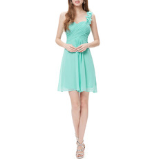 Affordable One Shoulder Sweetheart Short Chiffon B Bridesmaid Dress