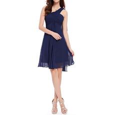 Inexpensive One Shoulder Short Chiffon Summer Beach Bridesmaid/ Wedding Party Dress