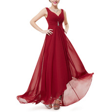 Romantic Sweetheart High-Low Chiffon Summer Bridal Bridesmaid Dress with Straps