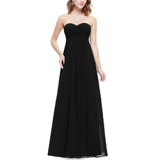Simple Sweetheart Long Chiffon Black Bridal Bridesmaid Dress