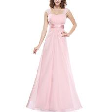 2018 Top Long Chiffon Bridesmaid Wedding Dress with Straps